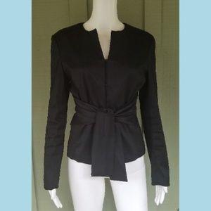 SAMUEL DONG Black Tie Front Blazer Jacket Small S